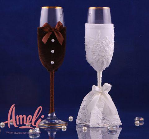 Как украсить бокалы на свадьбу жених и невеста своими руками